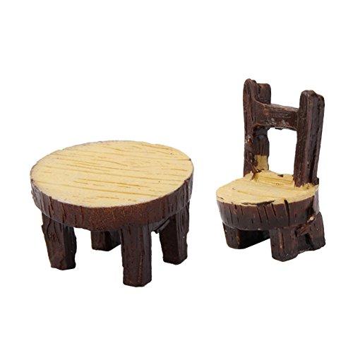 Milopon Micro Landschaft Deko Miniatur Gartentabelle  Sessel aus Holz für Puppenhaus Puppenhausmöbel Gartenmöbel Deko Garten 2pcs