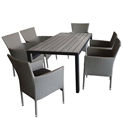 7tlg Gartengarnitur Gartentisch 150x90cm Polywood-Tischplatte grau  6x Gartensessel Polyrattan stapelbar grau-meliert inkl Kissen - Sitzgruppe Terrassenmöbel Gartenmöbel Set Sitzgarnitur