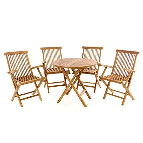 Divero Gartenmöbel-Set Terrassenmöbel-Garnitur Sitzgruppe Tisch Ø 80cm 5-tlg 4x Holzstuhl mit Armlehnen klappbar – Teakholz massiv behandelt
