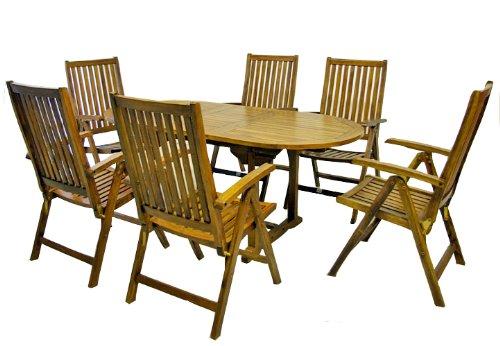 Divero Terrassenmöbel-Set Gartenmöbel-Garnitur Sitzgruppe – großer Esstisch 180240 cm ausziehbar  6 Hochlehner mit Armlehne – Akazie massiv behandelt