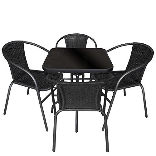 Multistore 2002 5tlg Gartengarnitur Balkonmöbel Terrassenmöbel Set Sitzgruppe Poly-Rattan Stapelstuhl Bistrotisch Schwarze Tischglasplatte 60x60cm