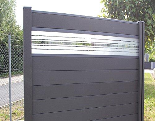 WPC  BPC Sichtschutzzaun dark grey 2 Zäune inkl 3 Pfosten und Verglasung Sichtschutz Gartenzaun Zaun terrasso