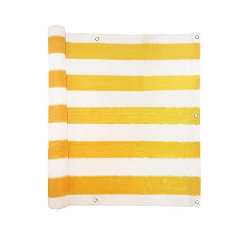 Jarolift Balkonbespannung atmungsaktiv Balkon-Sichtschutz 300 x 90cm 16 Ösen gelb - weiss