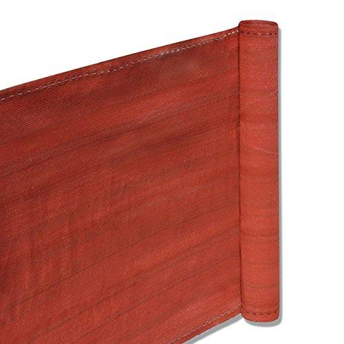 nxtbuy Balkon Sichtschutz 90x500cm - Balkonbespannung aus Hochwertigem HDPE-Gewebe - Balkonverkleidung mit gewebten Ösen und 11m Befestigungskordel FarbeTerracotta