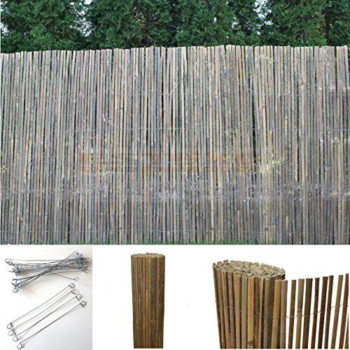Bambus Sichtschutzmatte Windschutz Bambusmatte Sichtschutz Garten-Zaun Natur 120 cm Höhe 5m Länge