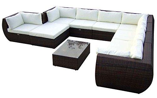 Baidani Gartenmöbel-Sets 10c0001500001 Designer XXL Sofa Extreme Hocker mit Auflage Couch-Tisch mit Glasplatte schwarz