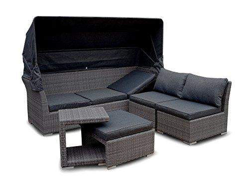 Strandkorb Lounge Palma Cabrio Sofa Alu Geflecht 5tlg grey