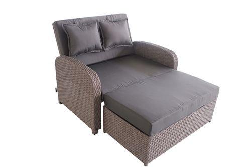 greemotion Rattan-Lounge Bali Sofa Bett aus Polyrattan indoor outdoor 2er Garten-Sofa inkl Kissen Auflagen Daybed mit Stahl-Gestell grau