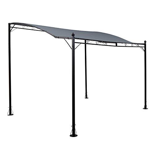 blumfeldt Allure • Pergola • Vordach • Terrassendach • Pavillon • 300 x 250 cm • Wasserabweisende Polyesterbespannung • PU-Beschichtung • stabile Konstruktion • Stahl • pulverbeschichtet • dunkelgrau