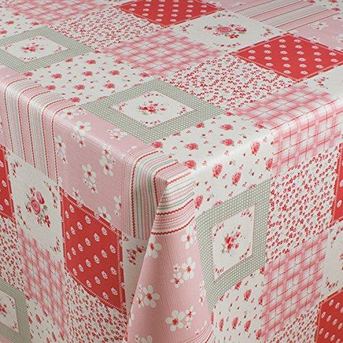 1buy3 Wachstuch  VIELE Farben Muster UND LÄNGEN  Tischdecke Biertischdecke mit Fleecerücken Blumenquadrate rosa 250cm x 140cm