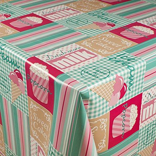 1buy3 Wachstuch  VIELE Farben Muster UND LÄNGEN  Tischdecke Biertischdecke mit Fleecerücken Ice Cream Mintrosa 250cm x 140cm