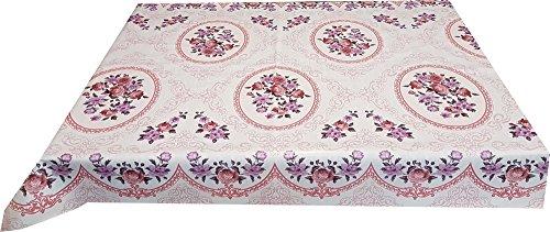 Ilkadim Wachstuch Tischdecke 140cm X 160cm Motiv Rosen rosa abwaschbar
