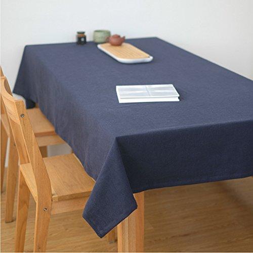 Ommda Tischdecke Leinen Abwaschbar Lang Rechteckig 130x220 Blau mit Tischdeckenklammer 6 Stück 6cm