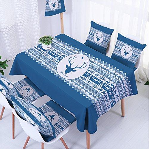 Ommda Tischdecke Leinen Abwaschbar Tischdecke Elch Blau Punkt Muster Wasserabweisend Tischwäsche Modern 90x140cm