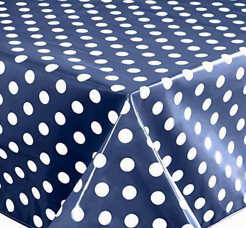 Wachstuch Tischdecke Abwaschbar Eckig 140 x 200 cm Punkte Blau