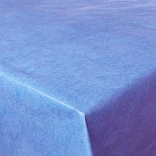 Wachstuch UNI Blau marmoriert · Eckig 140x110 cm · Länge Farbe wählbar LFGB · abwaschbare Tischdecke Gartentischdecke Einfarbig