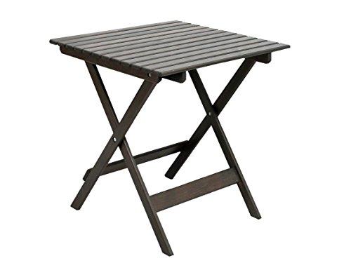 Ambientehome 90477 Gartentisch Bistrotisch Esstisch Klapptisch klappbar Holztisch Massivholz Lotta taupe grau braun ca 65x65 cm