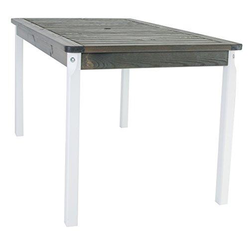 Ambientehome Gartentisch Tisch Massivholz Esstisch EVJE WeißTaupegrau ca 135 x 77 cm