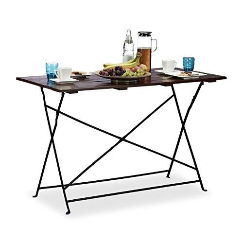 Relaxdays Gartentisch klappbar aus Massivholz flacher Garten-Esstisch für 4 Personen groß HxBxT 75x120x60 cm braun