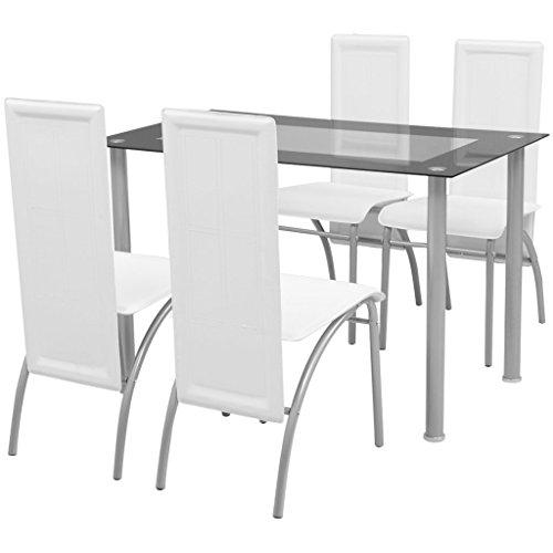 Festnight 5tlg Set Essgruppe Set Esstisch  4 Essstühle Esszimmertisch Küchenstuhl Esszimmer Sitzgruppe Weiß