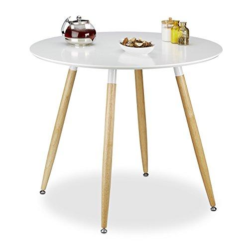 Relaxdays Runder Esstisch ARVID Holz HxD 74 x 90 cm Beine natur Gummi Untersetzer weiß
