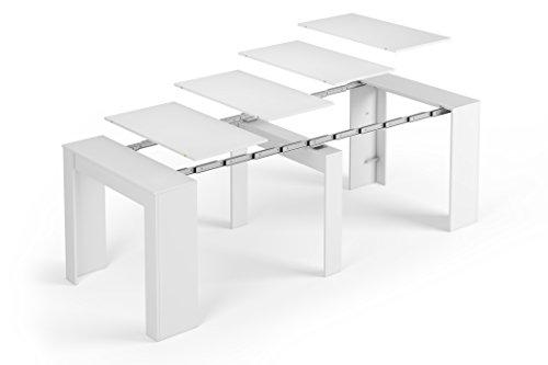 SERMAHOME Esstisch ausziehbar Konsole für Modell Function Medidas 78 x 90 x 50 cm cerrada Glänzend Weiß