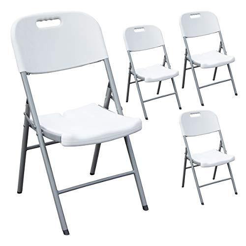 SVITA Buffettisch Kombi mit Tisch und Bank Bierbank Klapptisch Esstisch Camping-Set 180cm 4X Klappstuhl weiß