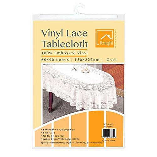 Vinyl Lace Tischdecke Esstisch weiß eckig rund oval Rechteck geprägt abwischbar Home Decor Abdeckung Displayschutzfolie Woven Vinyl weiß 90x60 Oval Lace