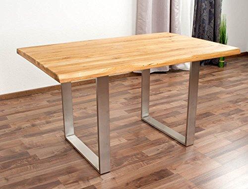 Esstisch Wooden Nature 412 Eiche massiv geölt Tischplatte rustikal - 140 x 90 cm B x T