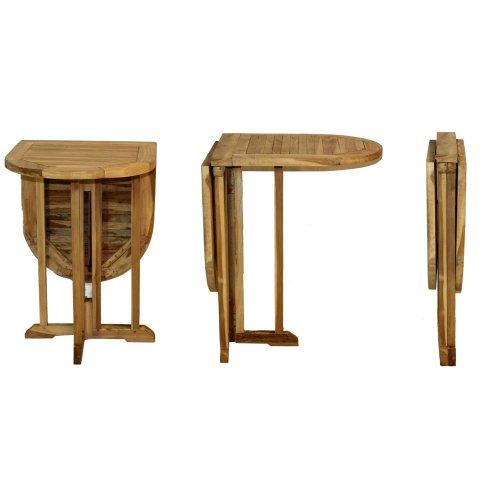 AMBIENTE-LEBENSARTDE Balkontisch-Teak-Klapptisch-Gartentisch-Beistelltisch Bistro-Tisch-Massiv-Holz Oval 120 x 60 x 75cm Gateleg-Table