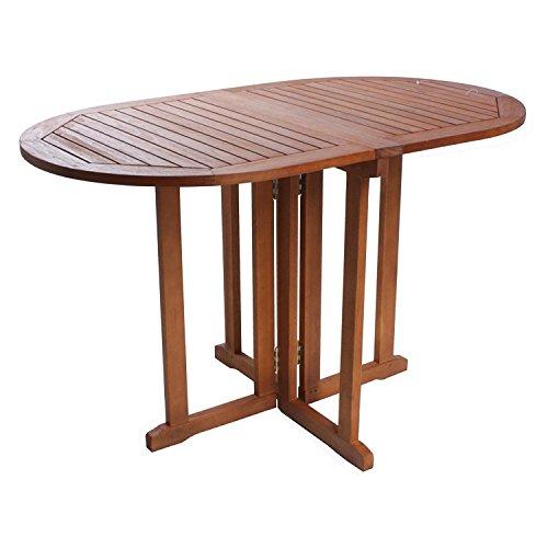 nxtbuy Balkontisch Baltimore 120 x 70 cm oval aus Holz mit abklappbarer Tischplatte Stabiler Outdoor Klapptisch mit witterungsbeständiger geölter Oberfläche