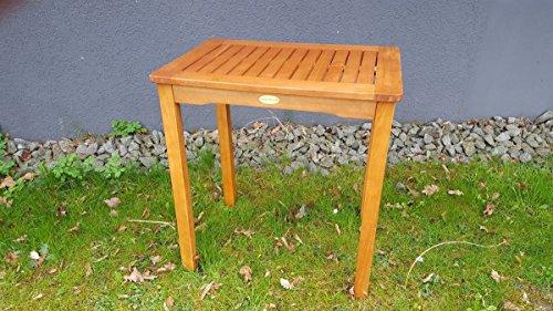 Charme Vertriebs GmbH Gartentisch Eukalyptus Tisch Beistelltisch Balkontisch geölt massiv 50x70 cm