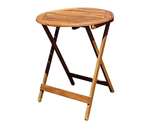 SAM Balkon- Gartentisch 60 cm Blossom Round Holz-Tisch aus Akazie massiv geölt FSC 100 runder Klapptisch