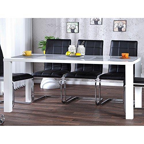 DESIGN DELIGHTS Moderner ESSTISCH MALMÖ  160 cm weiß Hochglanz  Holztisch für Esszimmer und Küche
