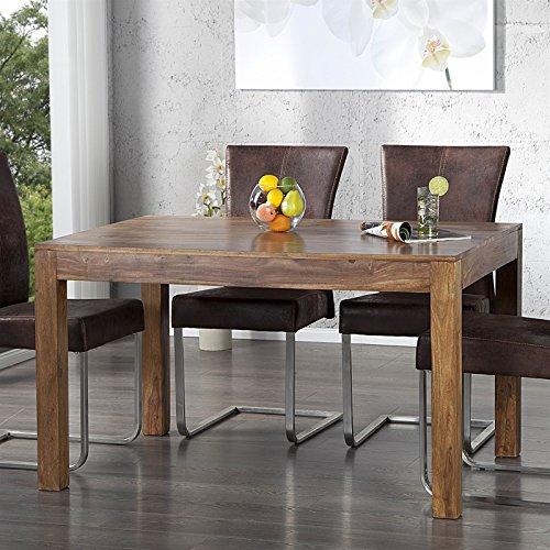 DESIGN DELIGHTS Moderner ESSTISCH SHEESHAM  140 cm Massivholz Braun  Holztisch für Küche