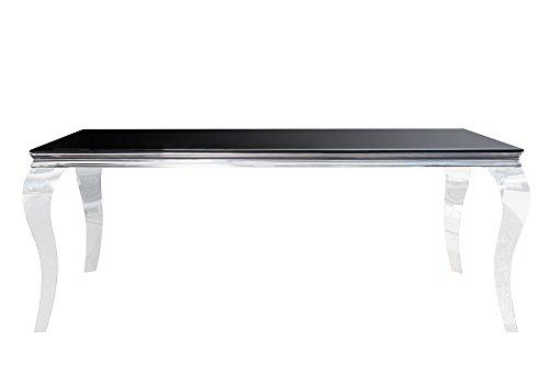 DuNord Design Esstisch Glastisch schwarz silber 200cm LOUIS Barock Facettenschliff Esszimmer