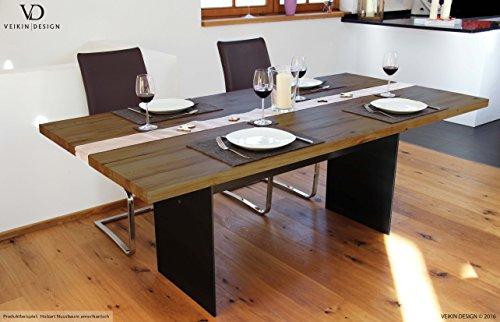 Esstisch Manhattan Black Nussbaum amerik massiv 250 x 100 cm Designer Tisch Massivholz mit Rohstahl Tischgestell Holztisch Metall Stahl Premium Esstisch Design Esstisch Exklusiv
