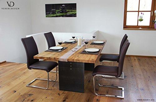 Esstisch Manhattan Wildeiche massiv 300 x 100 cm Designer Tisch Massivholz mit Rohstahl Tischgestell Holztisch Metall Stahl Premium Esstisch Design Esstisch Exklusiv