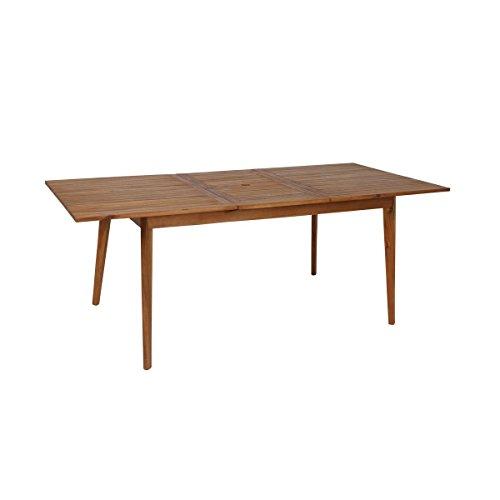 greemotion Garten-Esstisch ausziehbar Sylt - Design-Gartentisch aus Akazie - Ausziehbarer Tisch aus Holz - Outdoor-Holztisch mit Schirmloch - Ausziehtisch für Terrasse Balkon