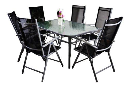 Nexos 7-teiliges Gartenmöbel-Set – Gartengarnitur Sitzgruppe Sitzgarnitur aus Gartenstühlen Esstisch Glasplatte klar mit Struktur – Aluminium Kunststoff Glas – schwarz grau