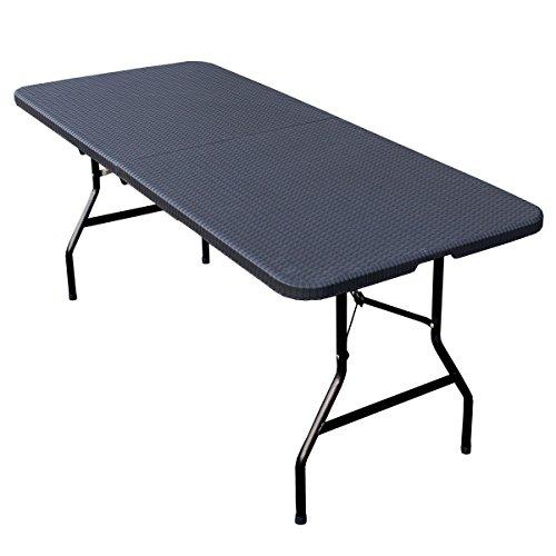 SVITA Buffettisch Kombi mit Tisch und Bank Bierbank Klapptisch Esstisch Camping-Set 180cm 1x Tisch Schwarz