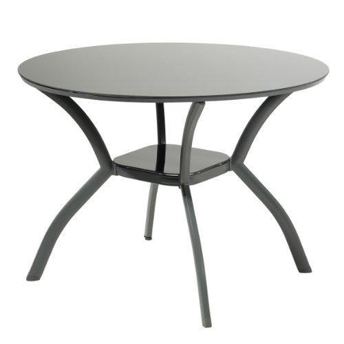greemotion Glastisch Faro - Esstisch rund - Gartentisch mit Glasplatte - Balkontisch aus Aluminium - Terrassentisch in Anthrazit Tischplatte in Schwarz - Outdoor-Tisch Alu-Gestell Sicherheitsglas