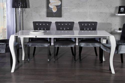 Casa Padrino Barock Esstisch Hochglanz Weiß mit Auszug 170200230cm - Esszimmer Tisch - Barock Möbel Modern