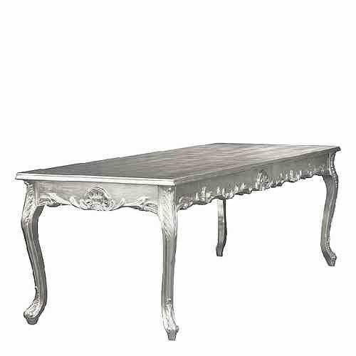 Casa Padrino Barock Esstisch Silber 240cm - Esszimmer Tisch - Sondermodell
