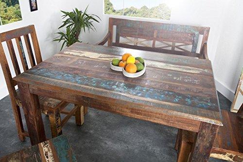 Casa Padrino Massivholz Esstisch Vintage Teakholz Recycled 120 cm - Esszimmer Vintage Look Design Tisch Massiv