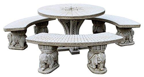 DEGARDEN Set Tisch Esszimmer rund und Banken für Garten oder Außen-Stein