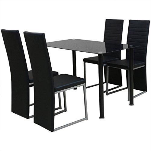 Festnight 5-tlg Essgruppe 1 Tisch  4 Stühle Esstisch Essstuhl Esszimmergarnitur Küchenmöbel Schwarz