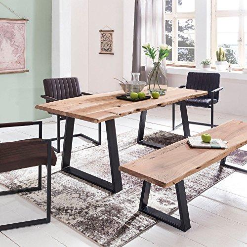 FineBuy Massiver Esstisch Tree 120 x 60 x 76 cm Baumkante Akazie Holz Massiv  Esszimmertisch Massivholz Baumstamm  Esszimmer Holz Tisch Robust Küchentisch