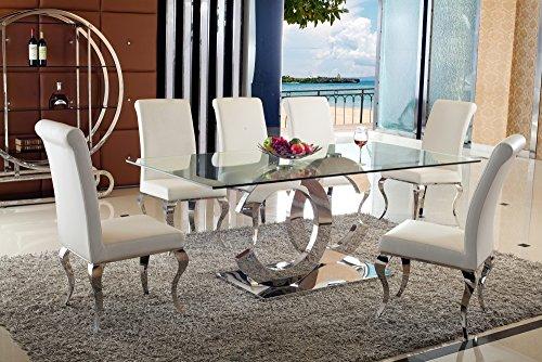 Juwel Esstische Edelstahl Esszimmer Tisch Glastische Glas Hochglanz - 200 x 90 x 75 cm