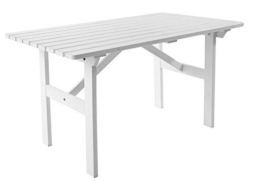 Ambientehome Gartentisch Tisch Massivholz Esstisch HANKO Weiß